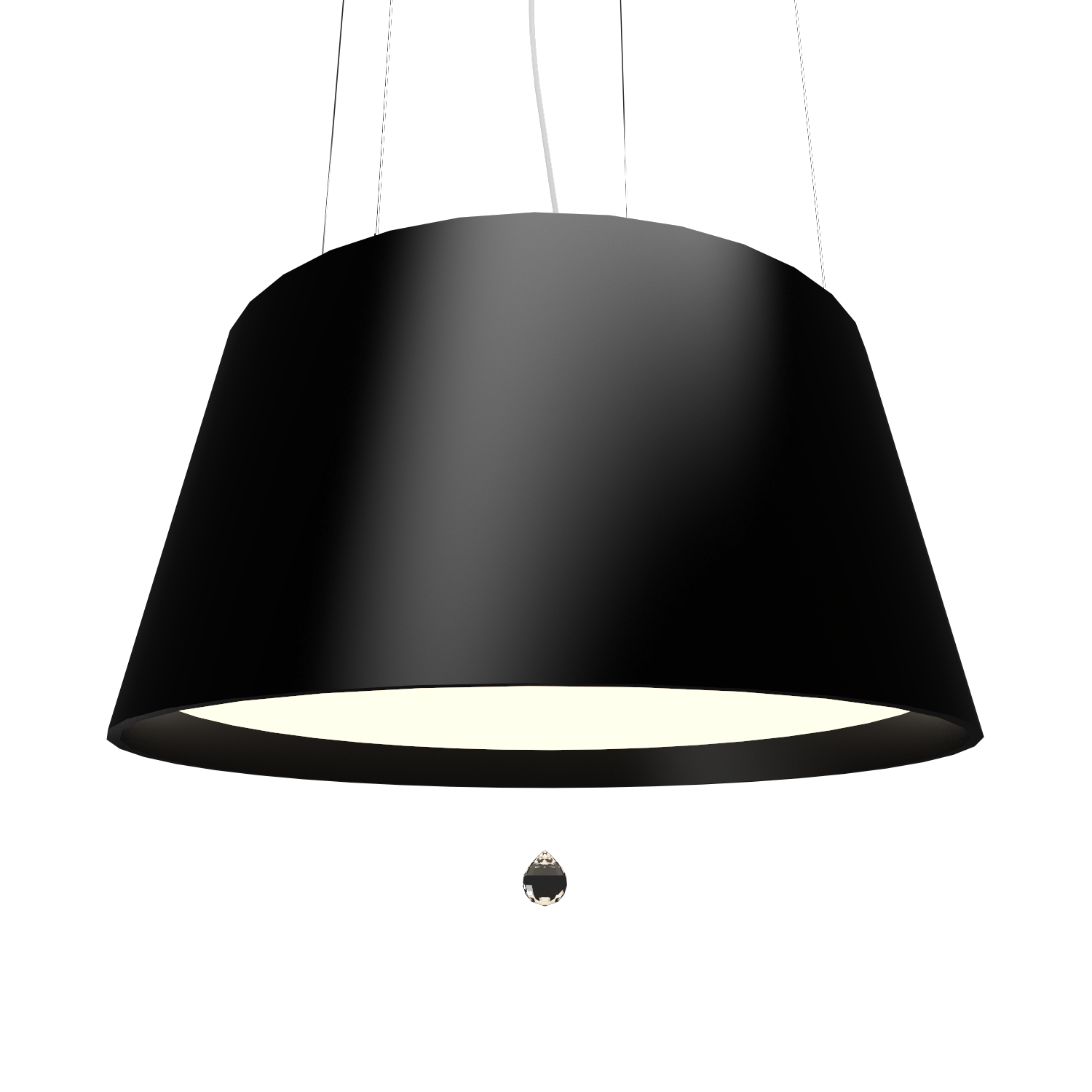 Pendant Lamp Conical with Crystal 255C - Cristais Line Accord Lighting | 02. Matte Black