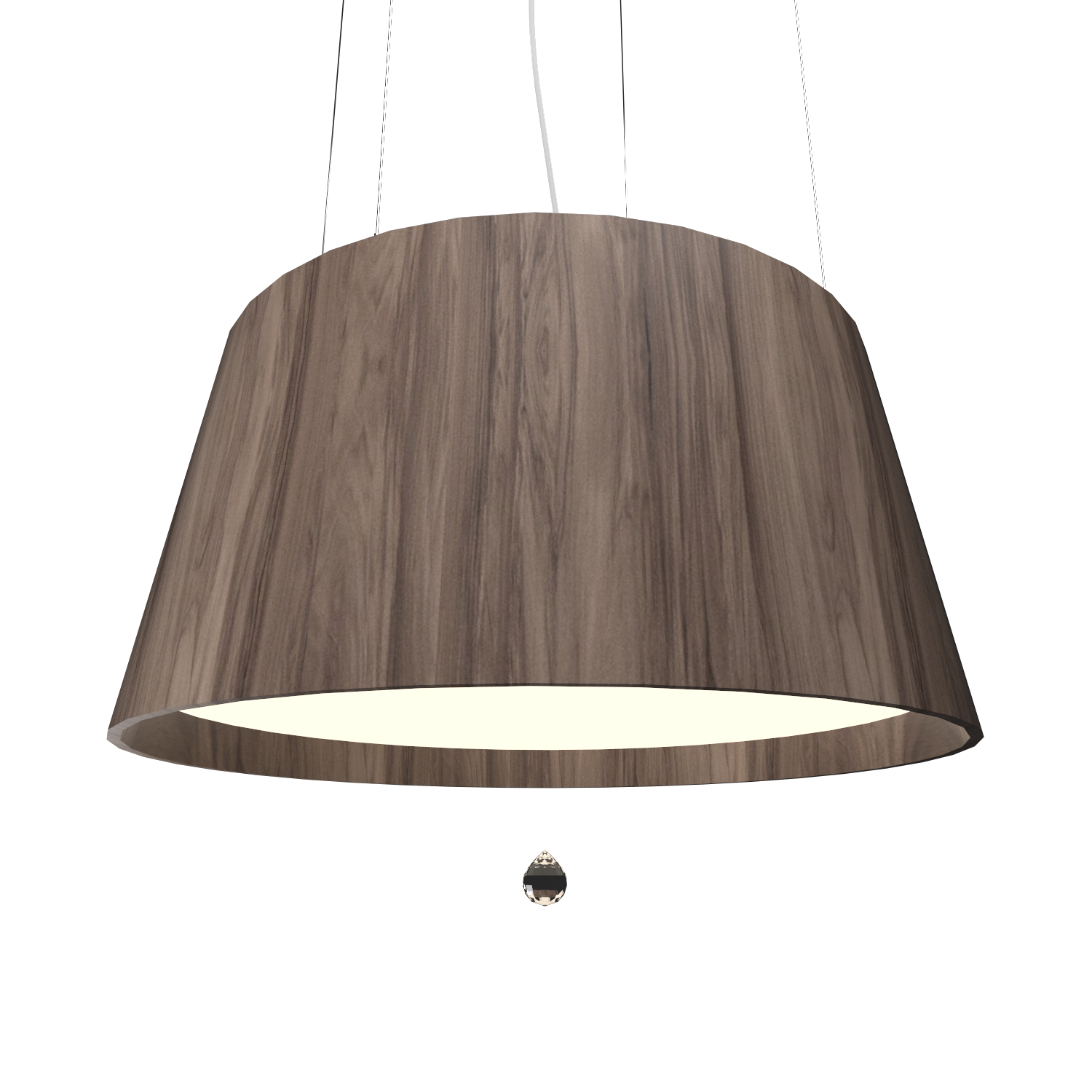 Pendant Lamp Conical with Crystal 255C - Cristais Line Accord Lighting | 18. American Walnut