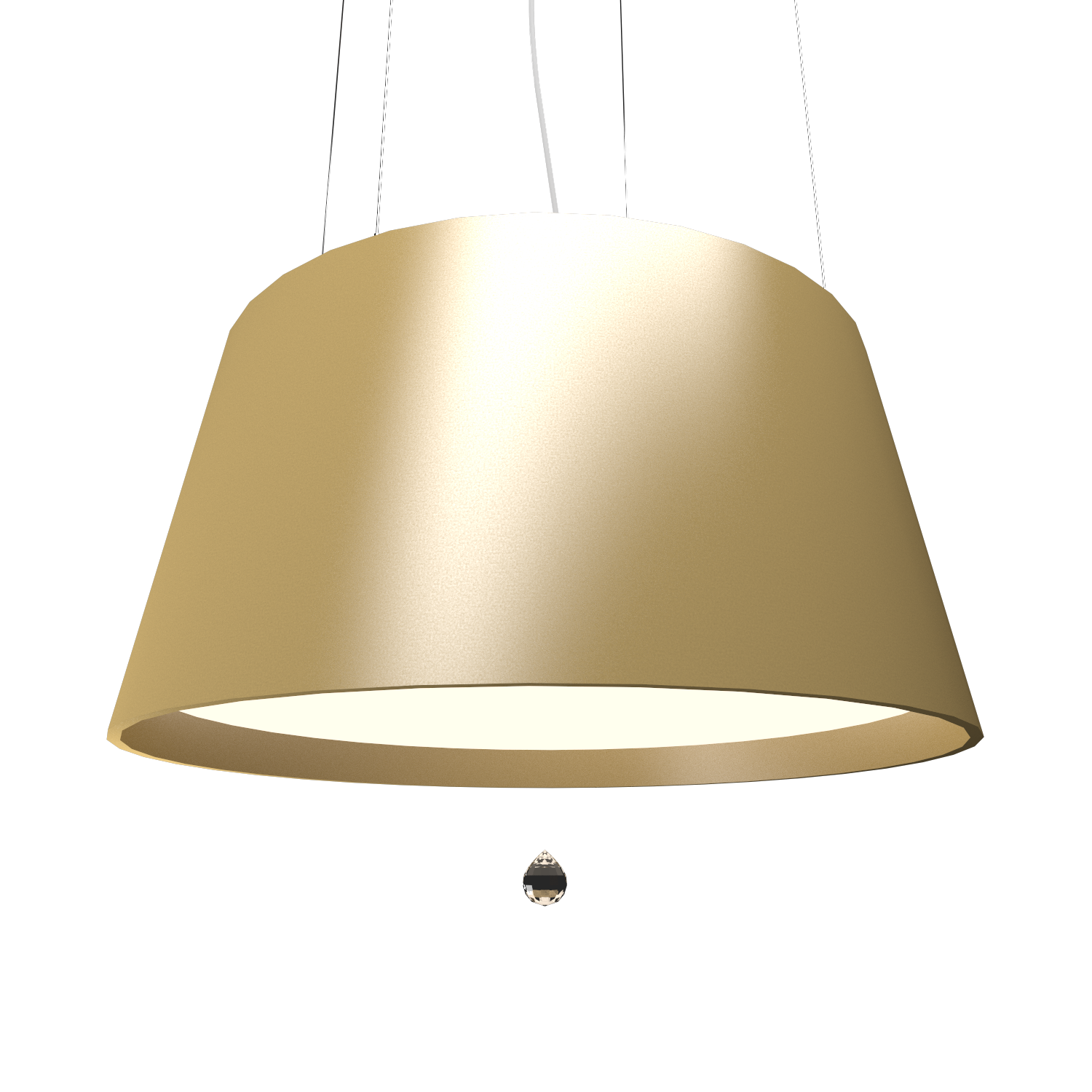 Pendant Lamp Conical with Crystal 255C - Cristais Line Accord Lighting | Pale Gold