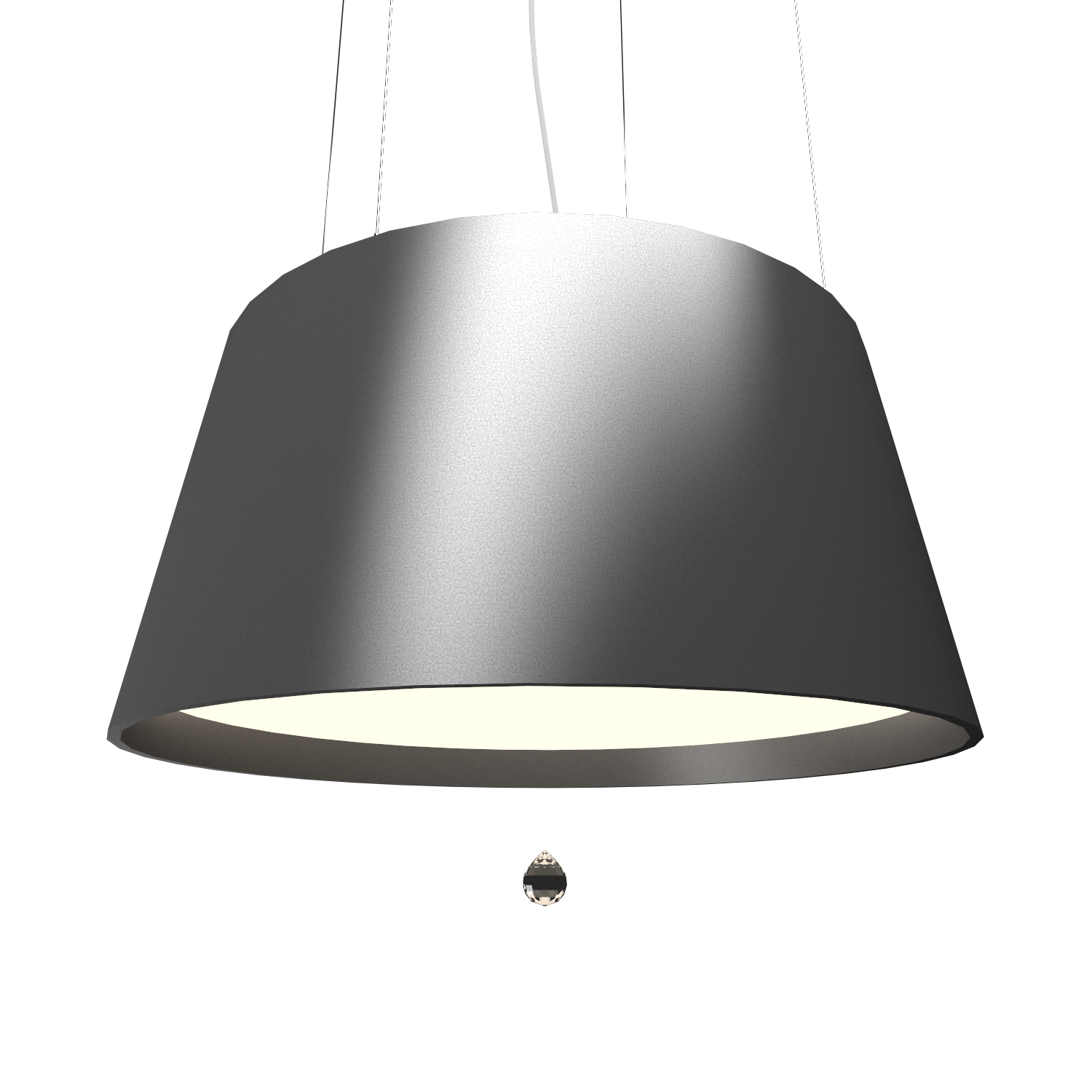 Pendant Lamp Conical with Crystal 255C - Cristais Line Accord Lighting | Lead Grey